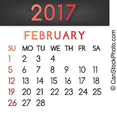 February 2017 calendar vector in a flat style in red tones