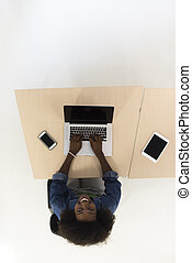 top view of informal african american Businesswoman - Top...