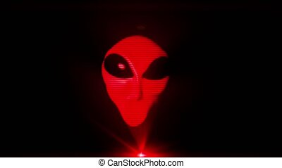 Alien grey hologram head face creepy extraterrestrial gray...