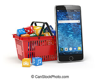 Mobile phone application software icons in the shopping...