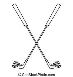 Golf clubs icon, outline style - Golf clubs icon. Outline...