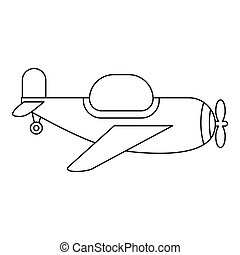 Childrens toy plane icon, outline style