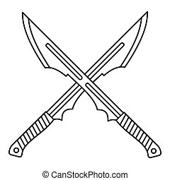 Japanese crossed swords icon, outline style - Japanese...