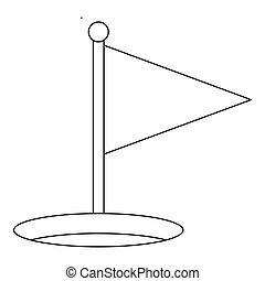 Triangle flag icon, outline style - Triangle flag icon....