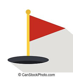 Red golf flag icon, flat style - Red golf flag icon. Flat...