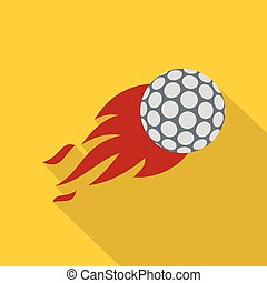 Flaming golf ball icon, flat style