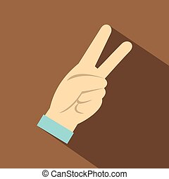 Two fingers raised up gesture icon, flat style