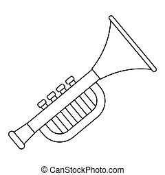 Trumpet toy for kids icon, outline style