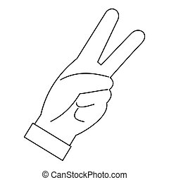 Hand with two fingers icon, outline style