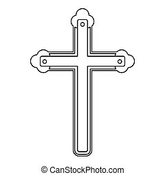 Holy cross icon , outline style - Holy cross icon. Outline...