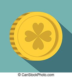 Golden coin with clover sign icon, flat style