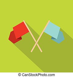 Red and blue crossed flags icon, flat style - Red and blue...