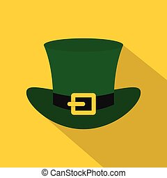 Green top hat with buckle icon, flat style - Green top hat...