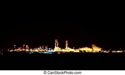 smokestacks at night - Time lapse video smokestacks at night...