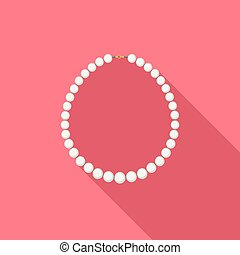 Pearl Necklace - Pearl necklace in flat style with long...