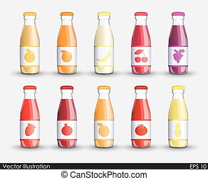 Set juice in a transparent glass bottle isolated containers