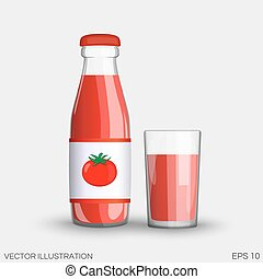 Tomato juice in a transparent glass bottle isolated