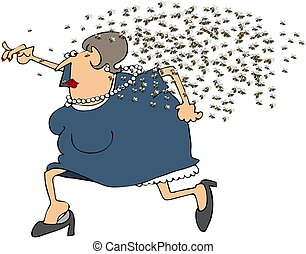 Woman Running From A Swarm Of Bees - This illustration...