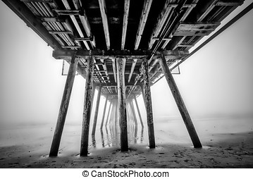 Pier Fog 2 (B&W) - In the fog under the Imperial Beach pier.