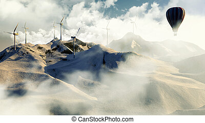 Wind electricity generators in mountain with hot air...