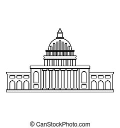 White house icon , outline style - White house icon. Outline...