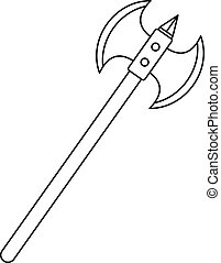 Poleaxe icon, outline style - Poleaxe icon. Outline...