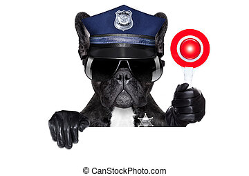 policeman dog with stop sign - POLICE DOG ON DUTY WITH stop...