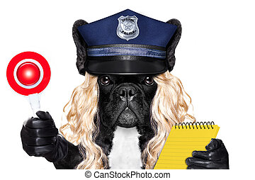 policewoman dog with ticket fine - policewoman dog ON DUTY...