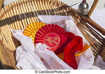 caballo, ecuestre, exposición, premio, escarapelas, cinta