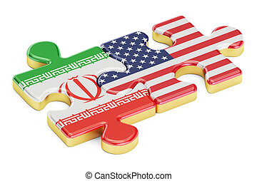 USA and Iran puzzles from flags, 3D rendering isolated on...