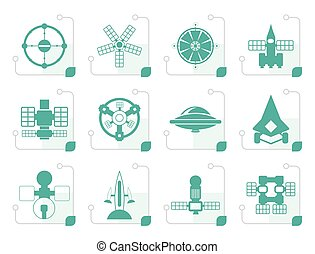 Stylized different kinds of future spacecraft icons