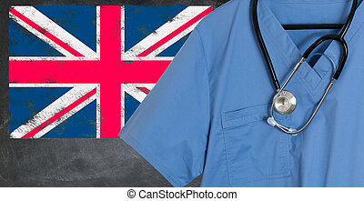 Blue scrubs with UK British flag for immigrant healthcare -...