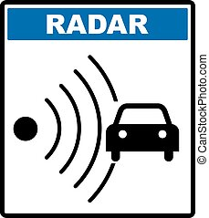 Speed road radar icon. Notice traffic symbol in blue circle isolated on white with text. Vector illustration