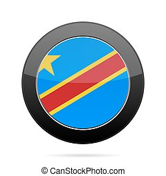 Flag of DR Congo. Shiny black round button.