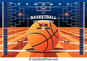 Basketball Tournament Bracket Template - A vector...