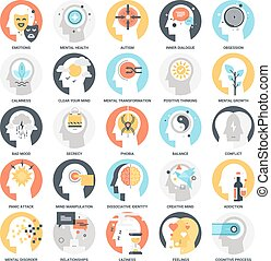 Human Psychology Icons - Modern flat vector illustration of...