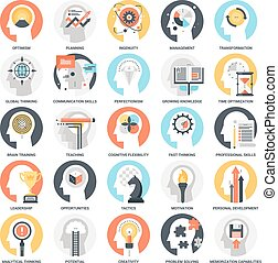 Personal Skills Icons - Modern flat vector illustration of...
