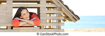 Woman dreaming with a new house