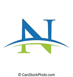 initial letter logo wit swoosh blue green - simple initial...