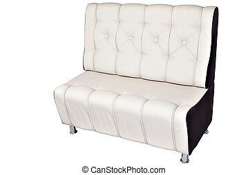 Double seater sofa lounge leather white, isolated on white....