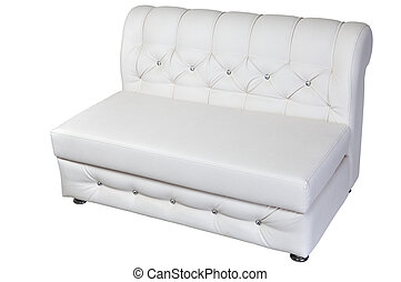 White leather modern banquette bench with storage space, isolated background.