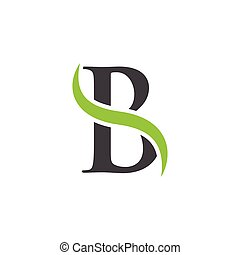 initial letter swoosh a to z green black