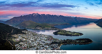queenstown at dusk - the city of Queenstown, New Zealand at...