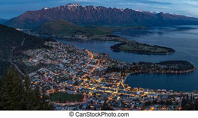queenstown at twilight - the city of Queenstown, New Zealand...
