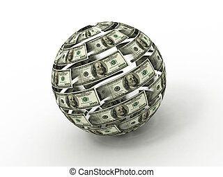 Sphere from dollar on white isolated background. 3d
