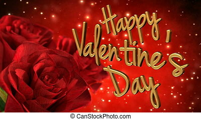 Happy valentines day theme with red roses. 3D render loop -...