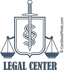 Legal center justice scales vector heraldic icon