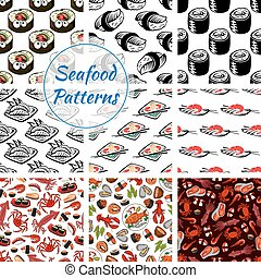 Seafood sushi, fish food seamless vector patterns - Japanese...