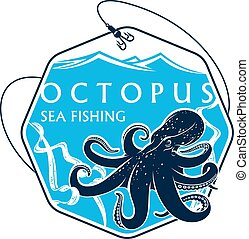 Sea fishing vector icon of octopus and fish rod - Sea or...
