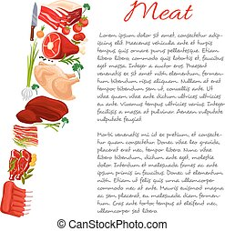 Meat information or nutrition facts vector poster - Poster...